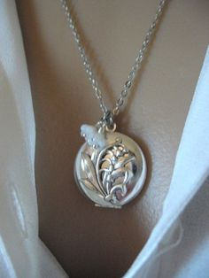 Lily of the Valley LOCKET, Silver Locket, Mother's Day Jewelry, Lily, Lily Bouquet, Lily of the Valley Jewelry on Etsy, $27.50