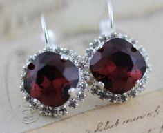Swarovski Crystal Burgundy Earrings Crystal Earrings Maroon Dark Red Bridal Earrings Bridesmaids Earrings Silver Wedding