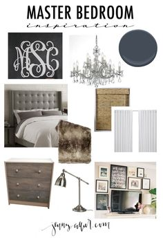 Making over our master bedroom with navy blue walls, white bedding, a tufted headboard, and more.