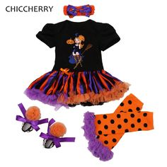 >> Click to Buy << The Little Witches Kids Halloween Costumes For Girls Clothing Sets Baby Romper Dress Leg Warmer Shoes Headband Newborn Tutu Sets #Affiliate