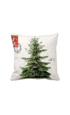 Pillow Cover Holiday Christmas Tree Green Pillow Cotton and Burlap Pillow make a series of these with different winter trees? Noel Christmas, Christmas Pillow, Country Christmas, Christmas Wishes, All Things Christmas, Winter Christmas, Christmas Crafts, Christmas Decorations, Christmas Cushions