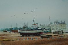 Fishingboats at Deal by Kevin Clarkson. Landscape and Bay Scene, Watercolour Painting. £250