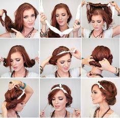 schnelle frisuren, frau mit roten haaren, bandana-frisur selber machen, frisur im hippie-stil