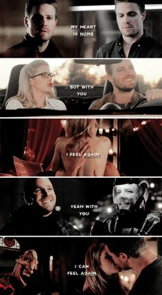 My heart is numb but with you I feel again, yeah with you I can feel again #arrow