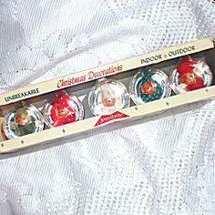 Box Jewel Brite Pixie Elf 1960s Plastic Christmas Ornaments