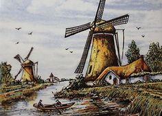 Ancien carreau couleur, faïence de Delft, moulin