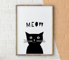 Cat Print, Printable Kids Gift, Cat Art Black And White, Black And White