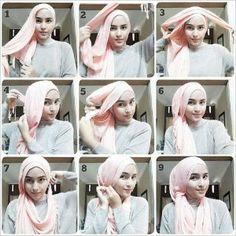 Tutorial for Big Long Square Hijab Shawl pin for step 8 Hijab Turban Style, Hijab Chic, Hijab Outfit, Stylish Hijab, Tutorial Hijab Pesta, Hijab Style Tutorial, Muslim Fashion, Hijab Fashion, Women's Fashion