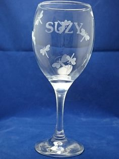 Etched Personalised Name Surrounded by Etched Dragon Flies on a Wine Glass :)