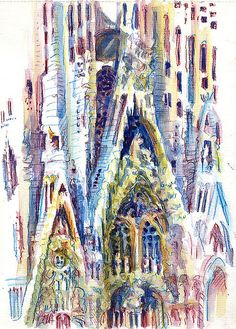 Lynne Chapman - Barcelona: Sagrada Familia.   Inktense watercolour pencils.  Browse more travel sketchbooks at www.lynnechapman.co.uk