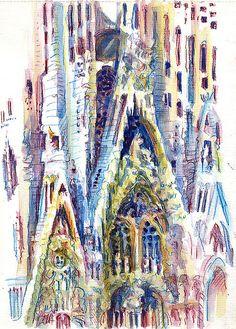 Lynne Chapman - Barcelona: Sagrada Familia.   Inktense watercolour pencils.  Browse more travel sketchbooks at www.lynnechapman.co.uk  Sagrada Família, uma obra espetacular do grande arquiteto Gaudí.