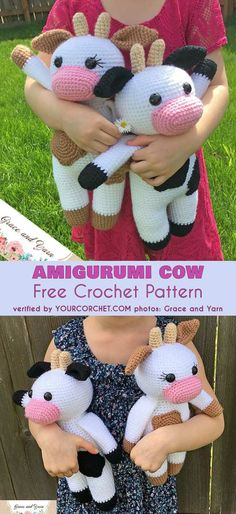 Amigurumi Cow Free Crochet Pattern Look at these cute cows. It is hard to resist starting this project right now, this instant! This cow measures about 13 inches tall, so it's just right size to be cuddled by small hands and hang out with the little 'un on every summer trip #freecrochetpatterns #amigurumipattern #cow #crochettoys