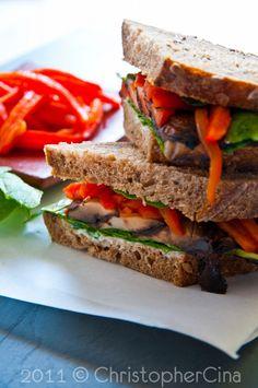 Grilled Portobello Sandwich, Roast Red Peppers, Arugula, Lemon Aioli