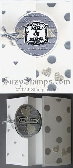 Stampin' Up! Cards - 2014-01 Love is in the Air Cards Class - Circle Card Thinlits Die, Label Love and Itty Bitty Banners stamp sets, Fancy Foil Designer Vellum, Silver Glimmer Paper, Brushed Silver Card Stock, Pretty Print Embossing Folder, Wedding, Anniversary