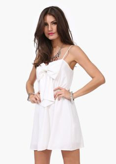 Spaghetti strap big bow slim waist dress