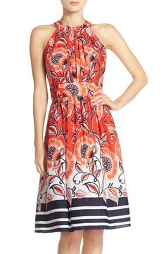Eliza J Mixed Print Crêpe de Chine Fit & Flare Dress available at #Nordstrom