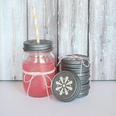 Daisy cut mason jar lids - the tomkat studio
