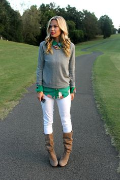 Grey sweater + green button up + white jeans + brown boots