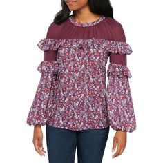 Devlin  Heidi Blouse (6.205 RUB) ❤ liked on Polyvore featuring tops, blouses, magnolia, floral blouse, embellished top, flutter-sleeve top, purple top and floral tops