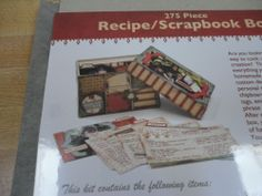 275pc SCRAPBOOK / RECIPE BOX RECIPE CARDS / PAPER / CHIPBOARD BOX / STICKERS THIS IS GREAT FOR MOTHERS DAY