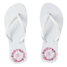 Mr & Mrs Pink Floral Watercolor Wedding Flip Flops - elegant wedding gifts diy accessories ideas