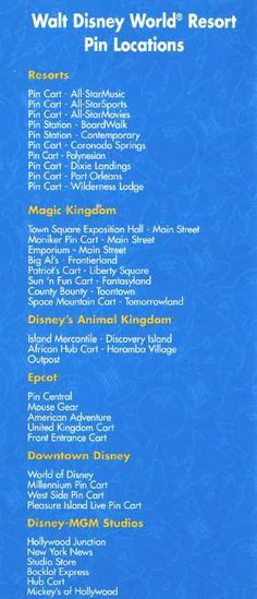 Disney World Pin Locations this will come in handy on my next trip to disney in two weeks