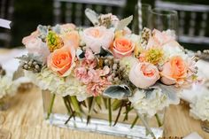 Peach and gold centerpiece- love the shape of this! // photo by Erin Nicole Photography