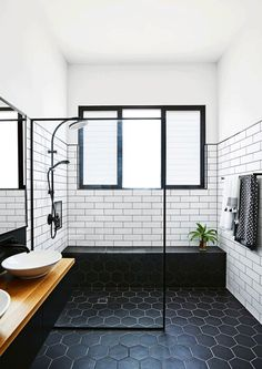 Black Hexagon Tile Bathroom Best Of 14 Midcentury Modern Bathroom Tile Ideas Modern Bathroom Tile, Bathroom Floor Tiles, Bathroom Layout, Bathroom Interior Design, Bathroom Black, Room Tiles, Bathroom Mirrors, Tile Floor, Bathroom Cabinets