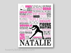 This typography art print would look great in any ice skaters room. Makes a great gift to commemorate a good season, a senior year or as a