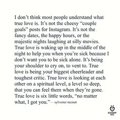 I don't think most people understand what true love is...