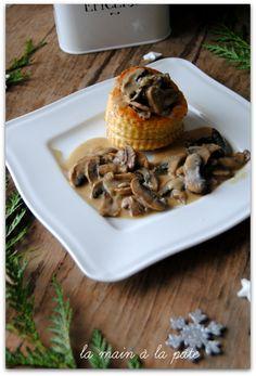 Croûtes feuilletées aux champignons sauce au foie gras