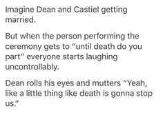 Dean and Cas' marriage. Destiel.