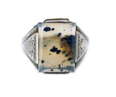 Moss Agate Ring, Sterling Silver, Sterling Ring, Mens Ring, Thick Wide, Vintage Jewelry for Him by zephyrvintage on Etsy