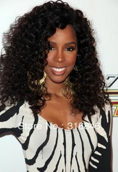 Kelly Hair Celebrity Wigs For African Americans Brazilian Kinky Curly Full Lace Wigs Lace Front Wig Side Part Remy Virgin Hair $110.00 - 335.00 !!