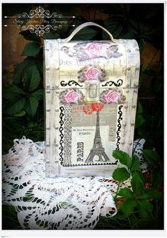 Skrzynka , pudełko , pojemnik na wino La Paris - Decoupage