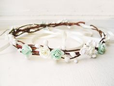 Mint Flower Crown Floral Crown Bridal Headpiece by NoonOnTheMoon
