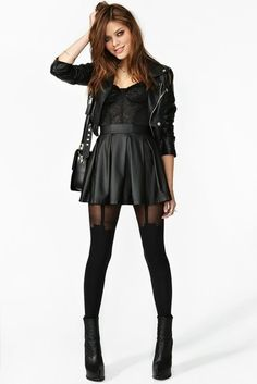 black leather skirt and moto jacket