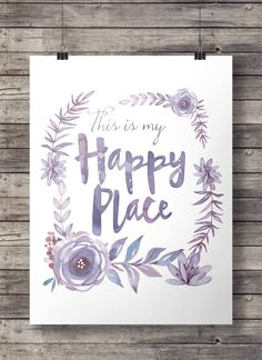 "Watercolor ""This is my happy place"" flowers wreath print - purple Printable wall art - digital print"