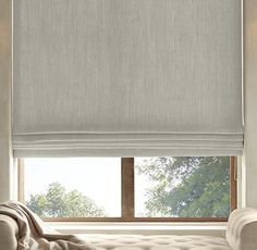 Belgian Heavyweight Textured Linen Flat Roman Shade - Restoration Hardware - for bedroom and kitchen windows New Homes, Window Coverings, Flat Roman Shade, House, Home, Blinds Design, Linen Roman Shades, House Blinds, Window Shades