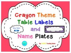Are you looking to incorporate a crayon theme in your classroom? If so, this is the product for you! Here are some cute crayon theme table labels in eight different colors with the name plates to match! Happy decorating!