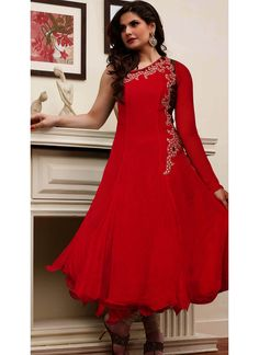 Red Georgette Anarkali Suit With Patch Work