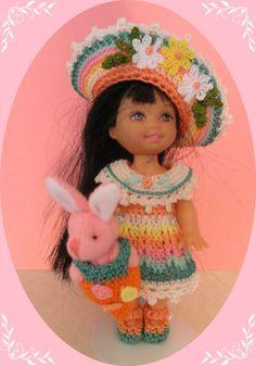 """Crochet Doll Clothes Easter Bonnet Flower Outfit for 4 ½"""" Kelly Same Sized Dol 