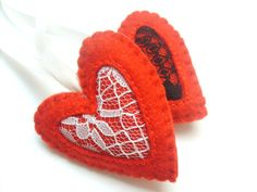 Heart ornament with lace felt ornaments by grabacoffee on Etsy