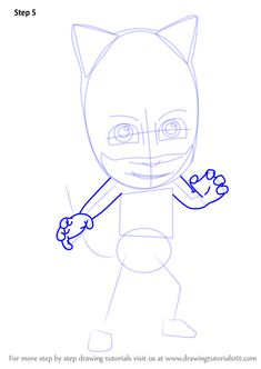 Learn How to Draw Catboy from PJ Masks (PJ Masks) Step by Step : Drawing Tutorials