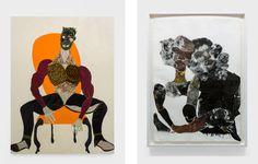Left: Tschabalala Self,Mane, 2016; Right:Tschabalala Self,Black Love, 2015. Photos by Maurizio Esposito. Courtesy of the artist and T293.