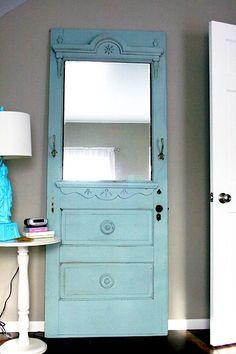 reclaimed door recycled into mirror