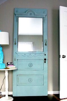 reclaimed door recycled into mirror