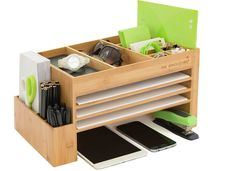 The new look of organisation - sleek, modern and space efficient. Desk accessory and organiser. Bamboo or Acrylic