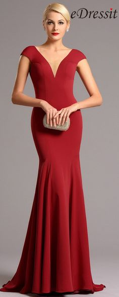 Capped Sleeves Plunging Neckline Red Formal Dress (00161202) 619db284b