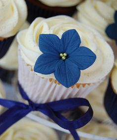 Navy and yellow wedding cupcakes by Little Paper Cakes, via Flickr